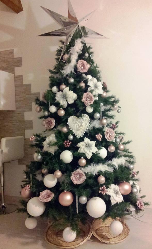 Luci albero di natale rosa